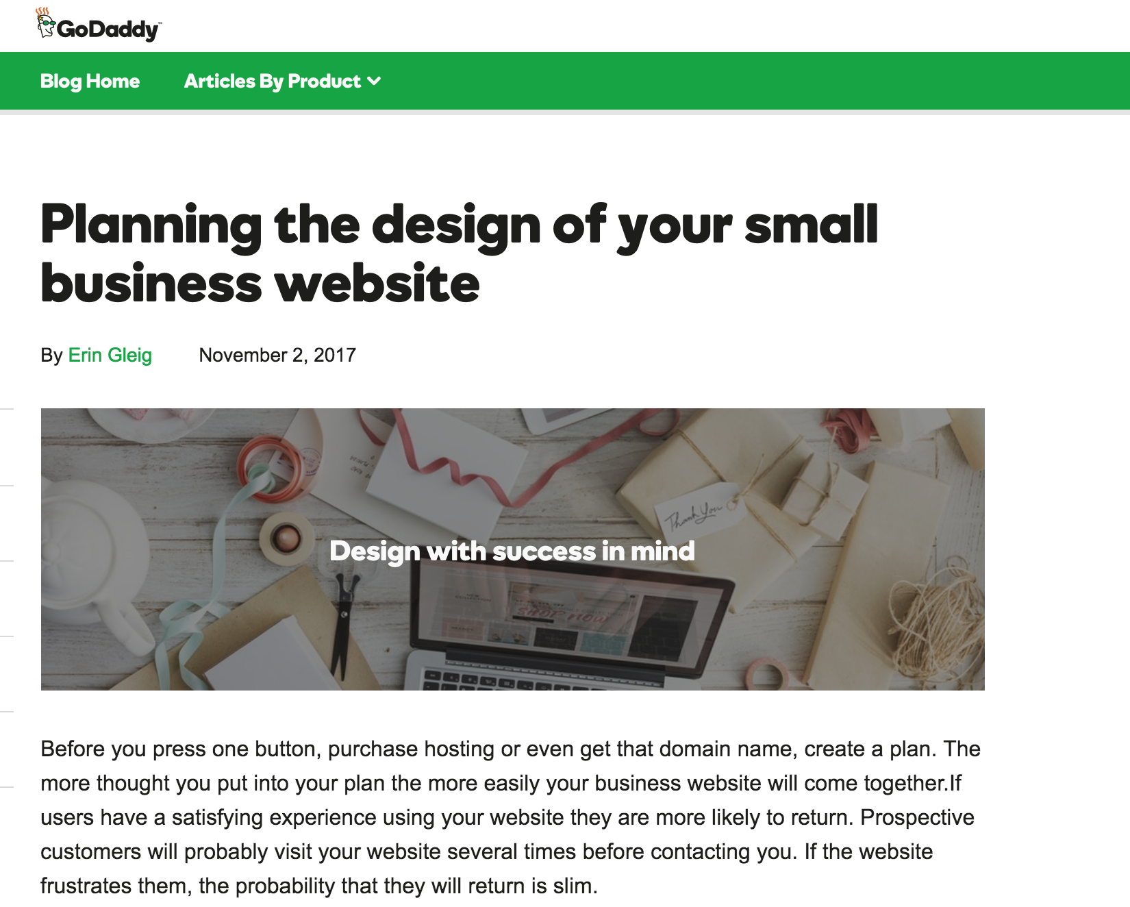 Planning your small business website